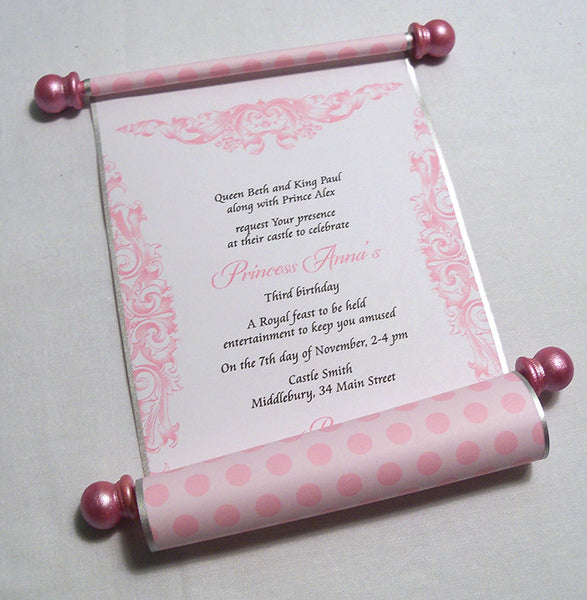 Princess Birthday Party Invitation Scroll In Pink Set Of