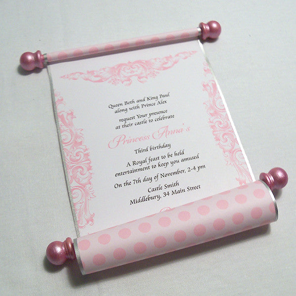 Princess Birthday Party Invitation Scroll In Pink Set Of 10