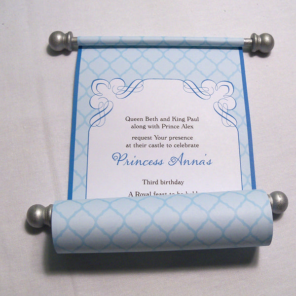 Princess Birthday Invitation Scroll in Turquoise and Silver, Honeycomb, set of 10