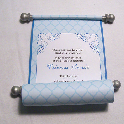 Princess Birthday Invitation Scroll in Turquoise and Silver, Honeycomb, set of 5 scrolls