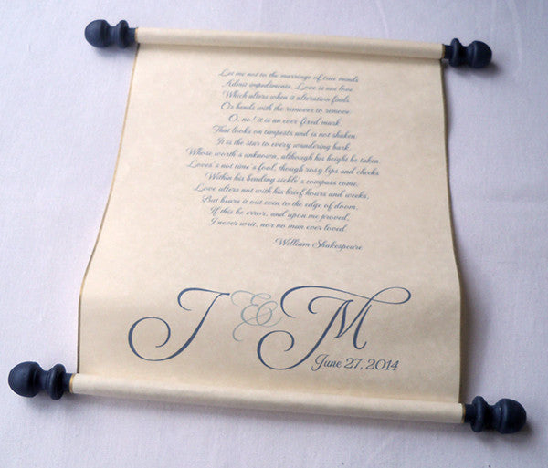 "Wide wedding vows personalized scroll with presentation box, 8x18"" paper"