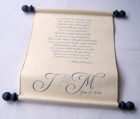Wedding vows personalized scroll with presentation box, wide