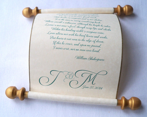 Wedding vows scroll custom printed with your own wording, with a mailing tube