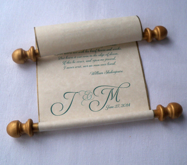 Wedding vows personalized individual scroll, with presentation box, cream or white paper