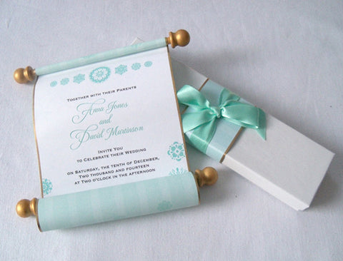 Winter fairytale wedding invitation scrolls with frozen snow flakes, boxed