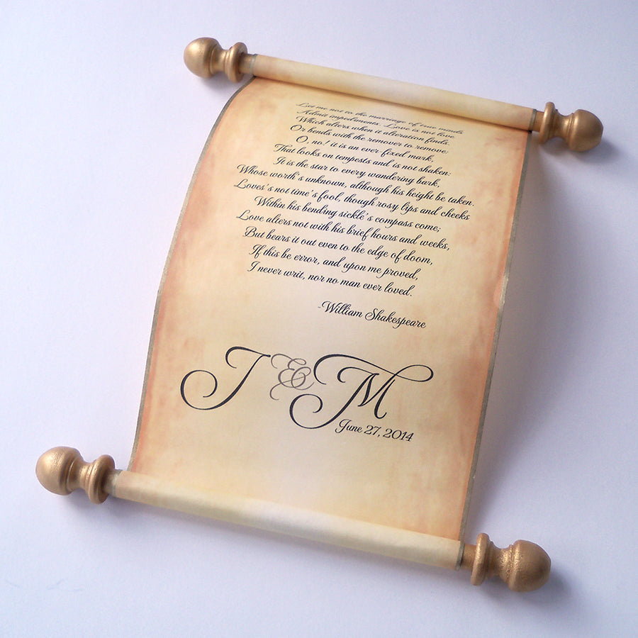 personalized individual scroll on aged parchment paper artful