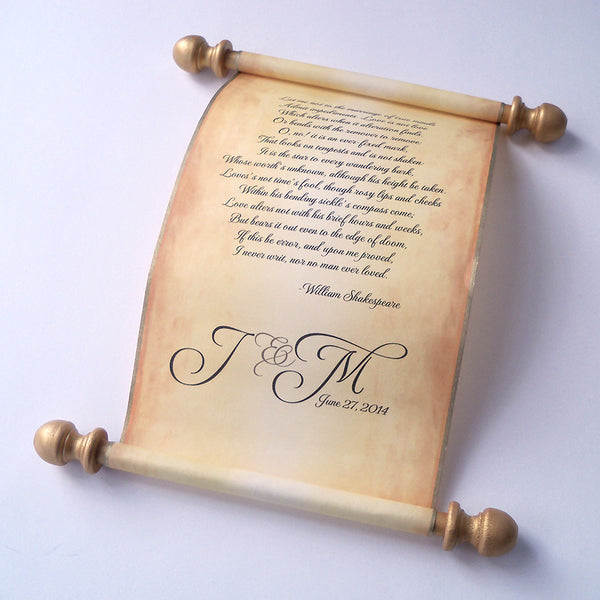 Wedding vows custom printed scroll on aged parchment, marriage proposal, anniversary letter, boxed