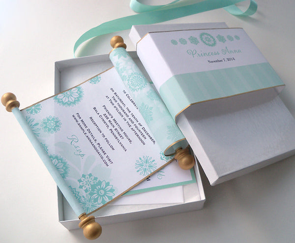 Fairytale wedding invitations in aqua with snowflakes
