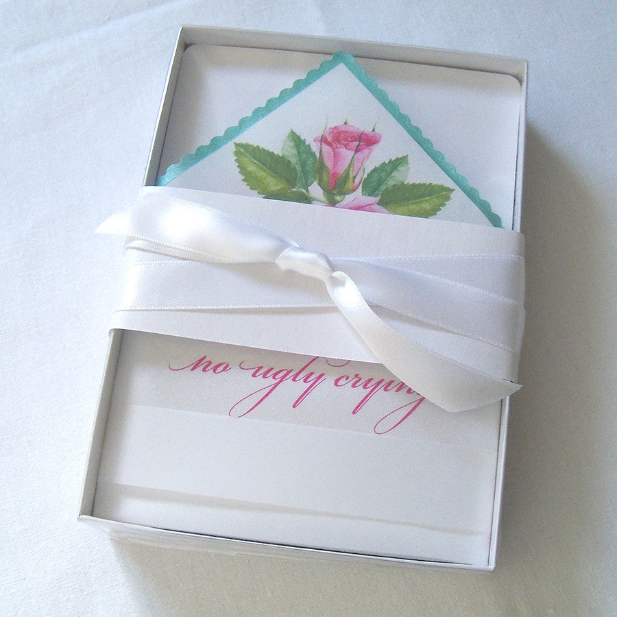 Pink roses wedding handkerchief favor, boxed – Artful Beginnings