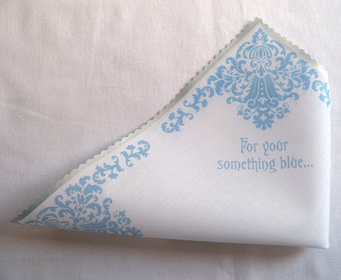 For your something blue bridal handkerchief