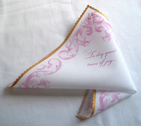 To dry your tears of joy pink and gold wedding handkerchief