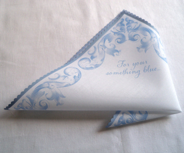 For your something blue bridal handkerchief in periwinkle