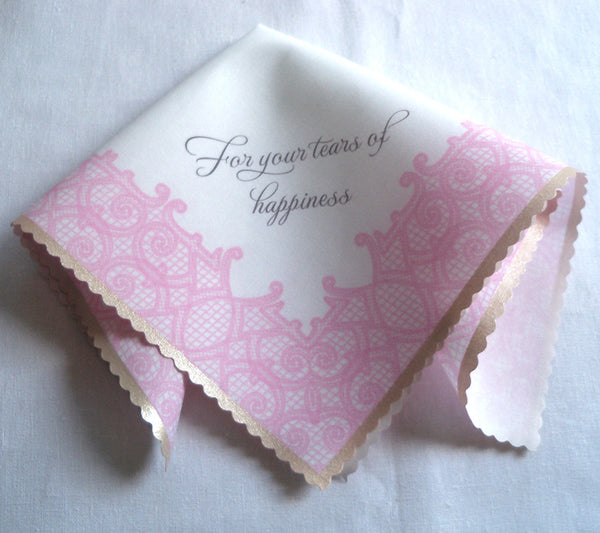 Pink blush printed lace wedding favor handkerchief, For your tears of happiness