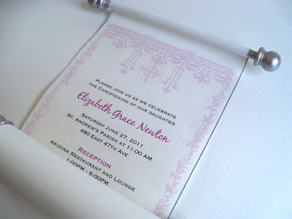Christening or Baptism invitation scroll, set of 10