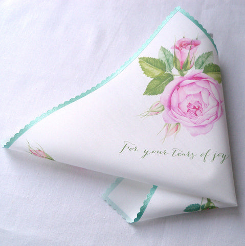 For your tears of joy wedding handkerchief with pink roses