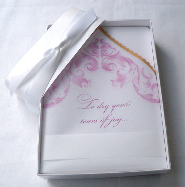 Pink scroll wedding handkerchief favor, boxed, vintage Victorian style