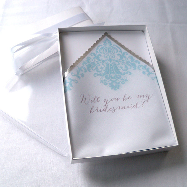 Will you be my bridesmaid handkerchief invitation in a box