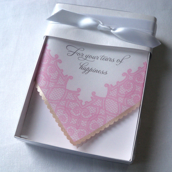 Pink printed lace wedding handkerchief, For your tears of happiness