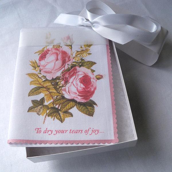 To dry your tears of joy handkerchief with vintage roses in a box