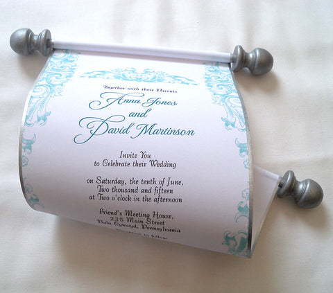Baroque wedding invitation scroll, set of 10