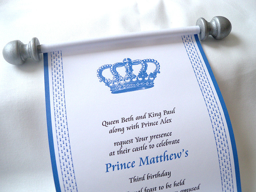 Royal Prince Birthday Party Invitation Scroll In Blue And Silver Set Of 10