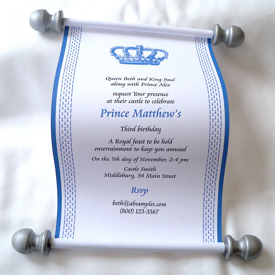Royal prince birthday party invitation scroll in blue and silver royal prince birthday party invitation scroll in blue and silver set of 10 filmwisefo