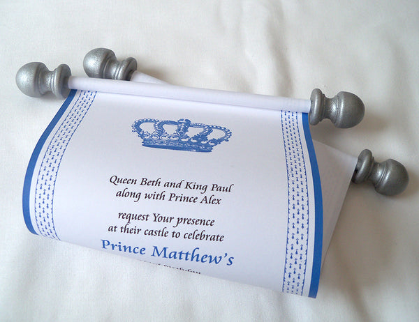 Royal Prince Birthday Party Invitation Scroll in Blue and Silver, set of 5 scrolls