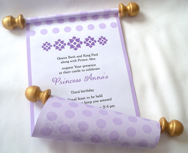 Lavender princess birthday party invitation scroll, set of 10