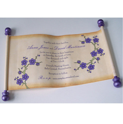 Cherry blossom wedding invitation scroll, set of 5 scrolls