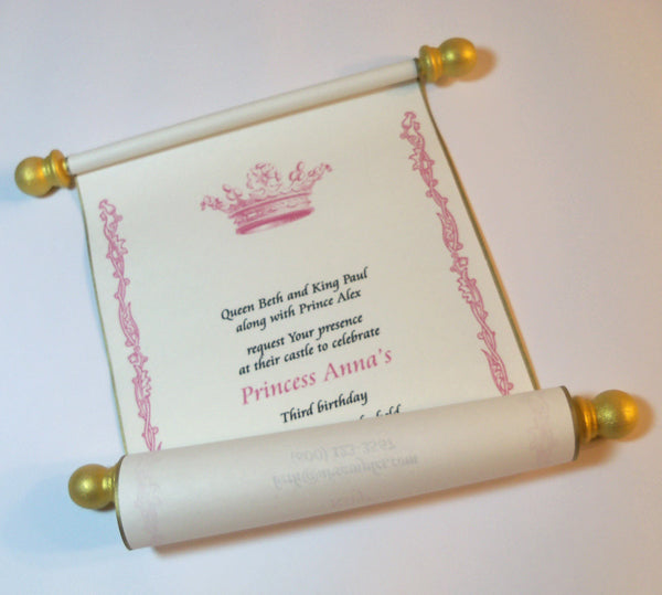 Royal princess invitation scroll in pink and gold, princess birthday party, royal scroll invitation, set of 10