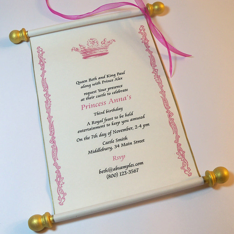 royal princess invitation scroll in pink and gold artful beginnings