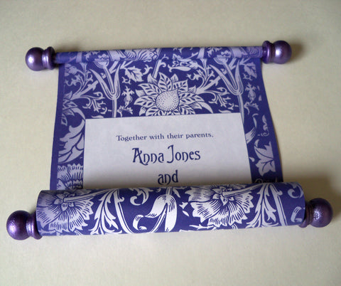Carnation damask wedding invitation scroll, set of 5 scrolls