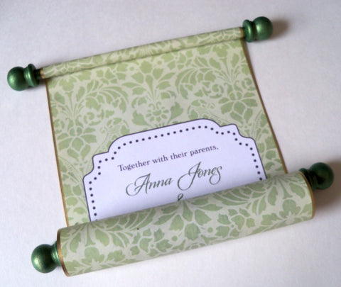 Floral damask wedding invitation scroll, set of 10