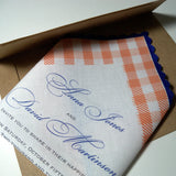 Picnic invitation handkerchiefs, tangerine and royal blue gingham