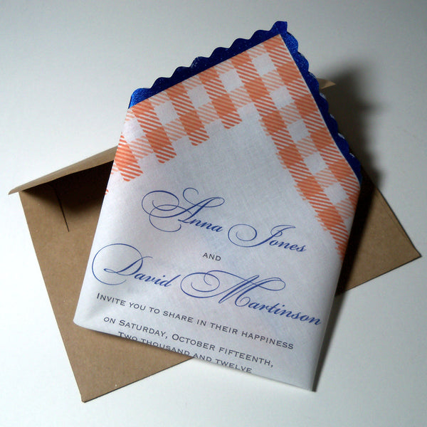 gingham invitation handkerchief