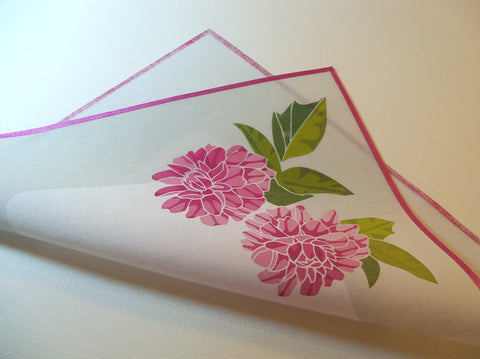 Personalized wedding handkerchief with pink peonies