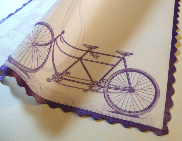 Tandem bicycle personalized wedding handkerchief