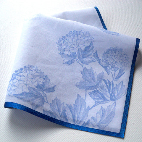Hydrangeas wedding handkerchief with printed custom text
