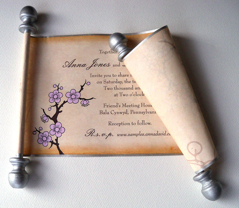 Pink blush cherry blossom wedding invitation scrolls with metallic silver finials, set of 10