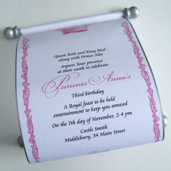 Princess birthday invitation scroll. Custom hand made scroll by Artful Beginnings