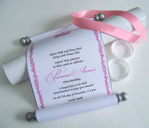 Royal princess invitation scrolls with mailing tubes