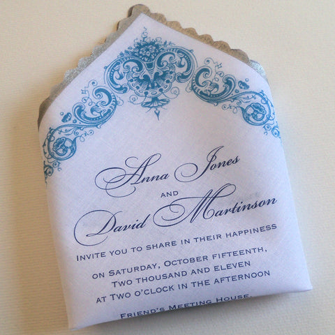 Wedding invitations on handkerchief with antique flowers damask