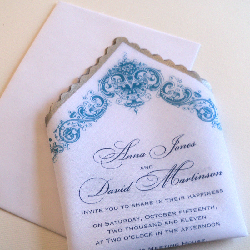 Elegant wedding invitations on handkerchief, floral damask – Artful Beginnings