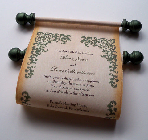 Rustic scroll wedding invitations with olive green damask, set of 5 scrolls