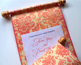 Rococo wedding invitation scroll with damask in tangerine, set of 10
