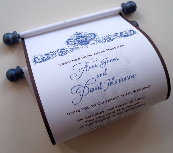 Wedding invitation scroll with antique flowers damask, set of 10