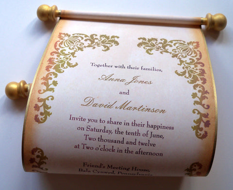 Rustic wedding invitation scroll with damask in gold and caramel, set of 10