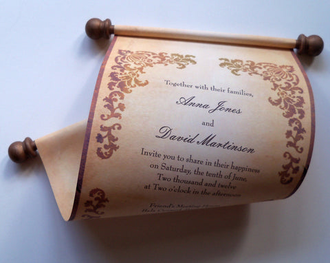 Castle wedding invitation scroll, set of 10