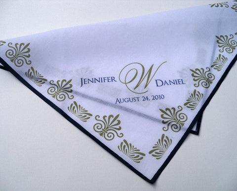 Personalized wedding handkerchief, Art Deco style Great Gatsby wedding