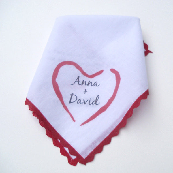 Personalized wedding handkerchief with carved heart design